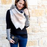Erin from Cathedrals and Cafes Blog Wearing a Pink and Grey Blanket Scarf from Ilymix
