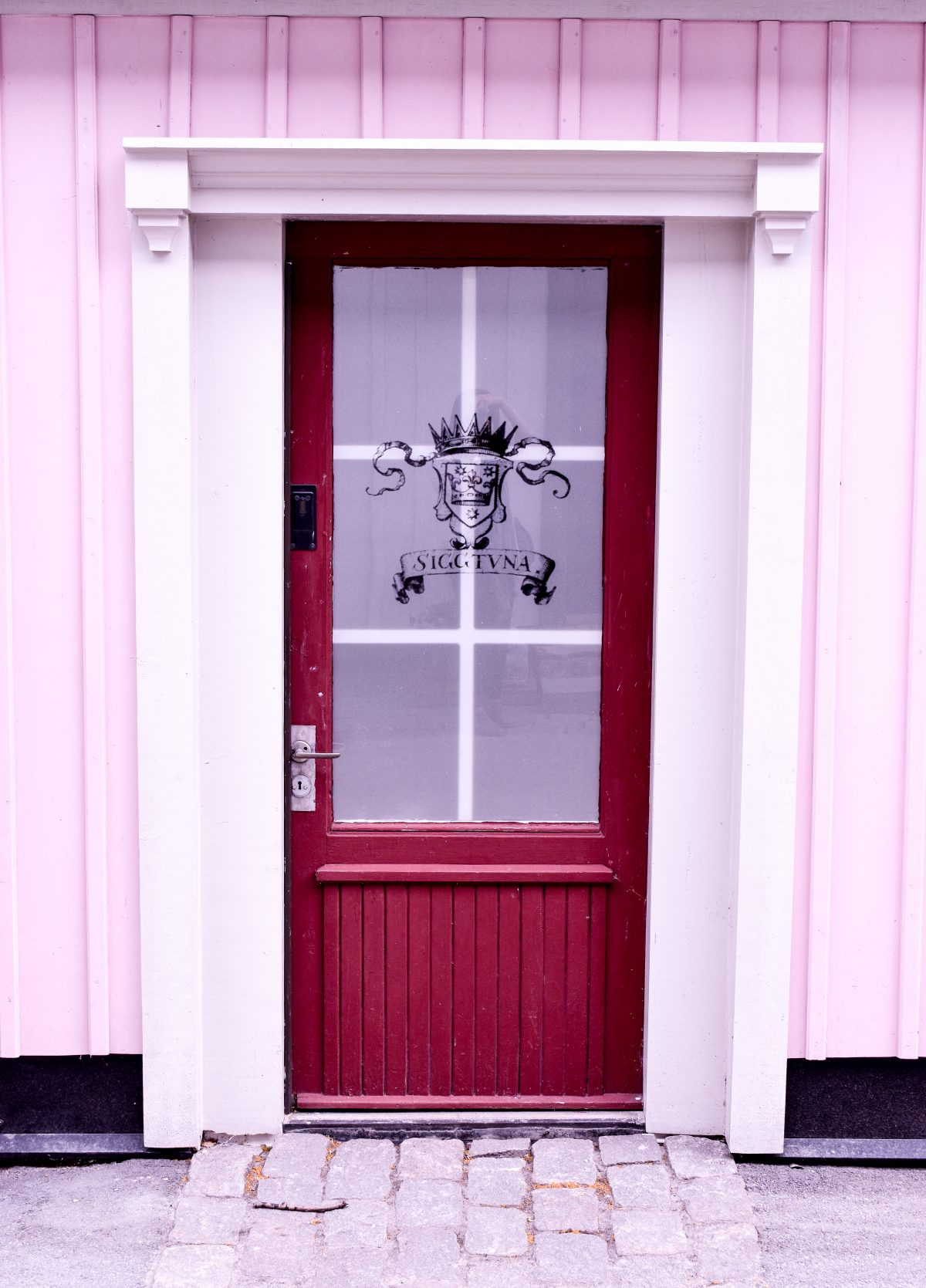 A pink door in Sigtuna Sweden