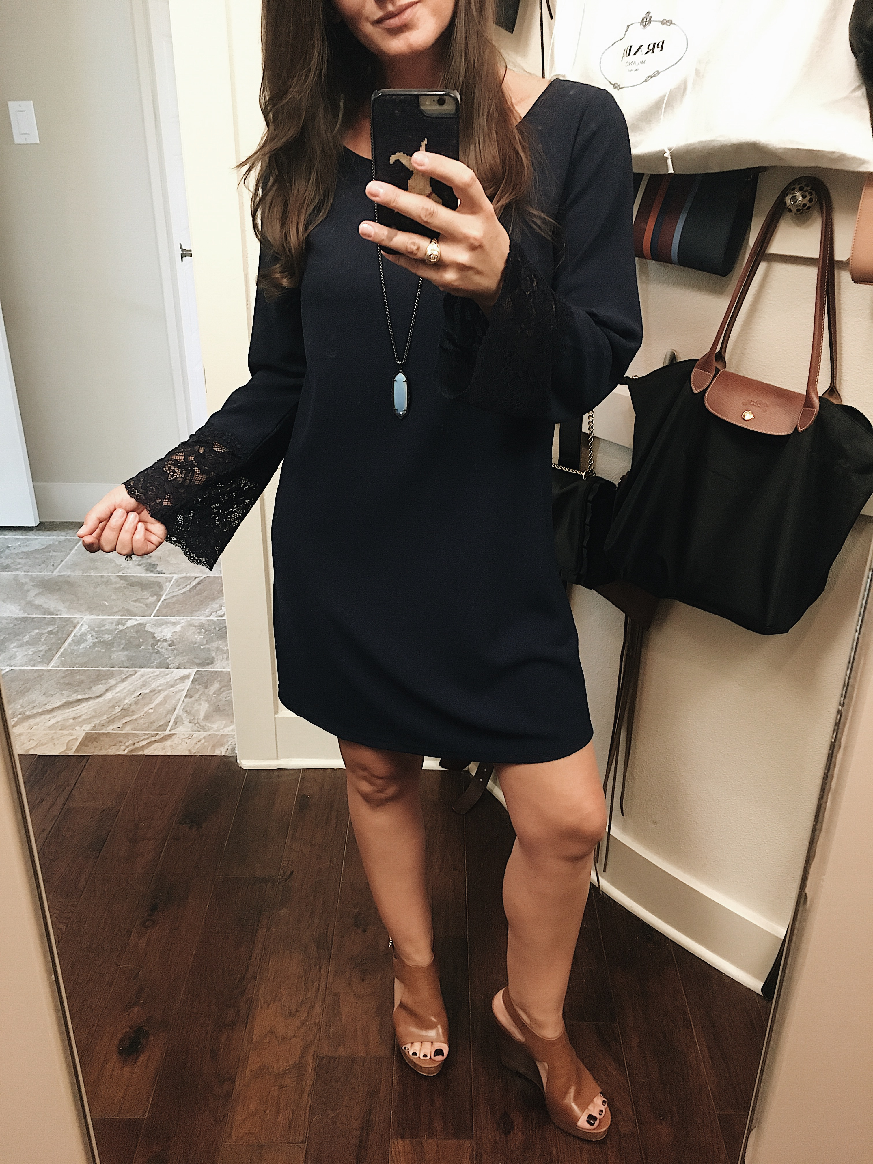 OOTD, #ootd, Dress, Shift dress, bell sleeves, wedges