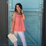 What to Wear to Santa Fe | Ruffle Sleeve Top | White Jeans | Leather clutch | Cathedrals and Cafes Blog