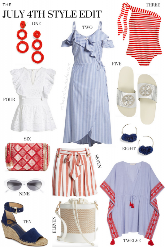 4th of July Style Edit _ Summer Style _ Summer Fashion _ Summer Dresses _ Bucket Bag _ Ruffle Dress _ Independence Day Fashion _ Cathedrals and Cafes Blog