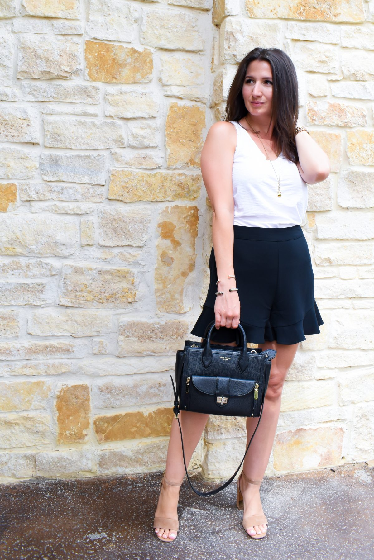 How to Style Ruffle Shorts   Date Night Outfit   Cathedrals and Cafes Blog