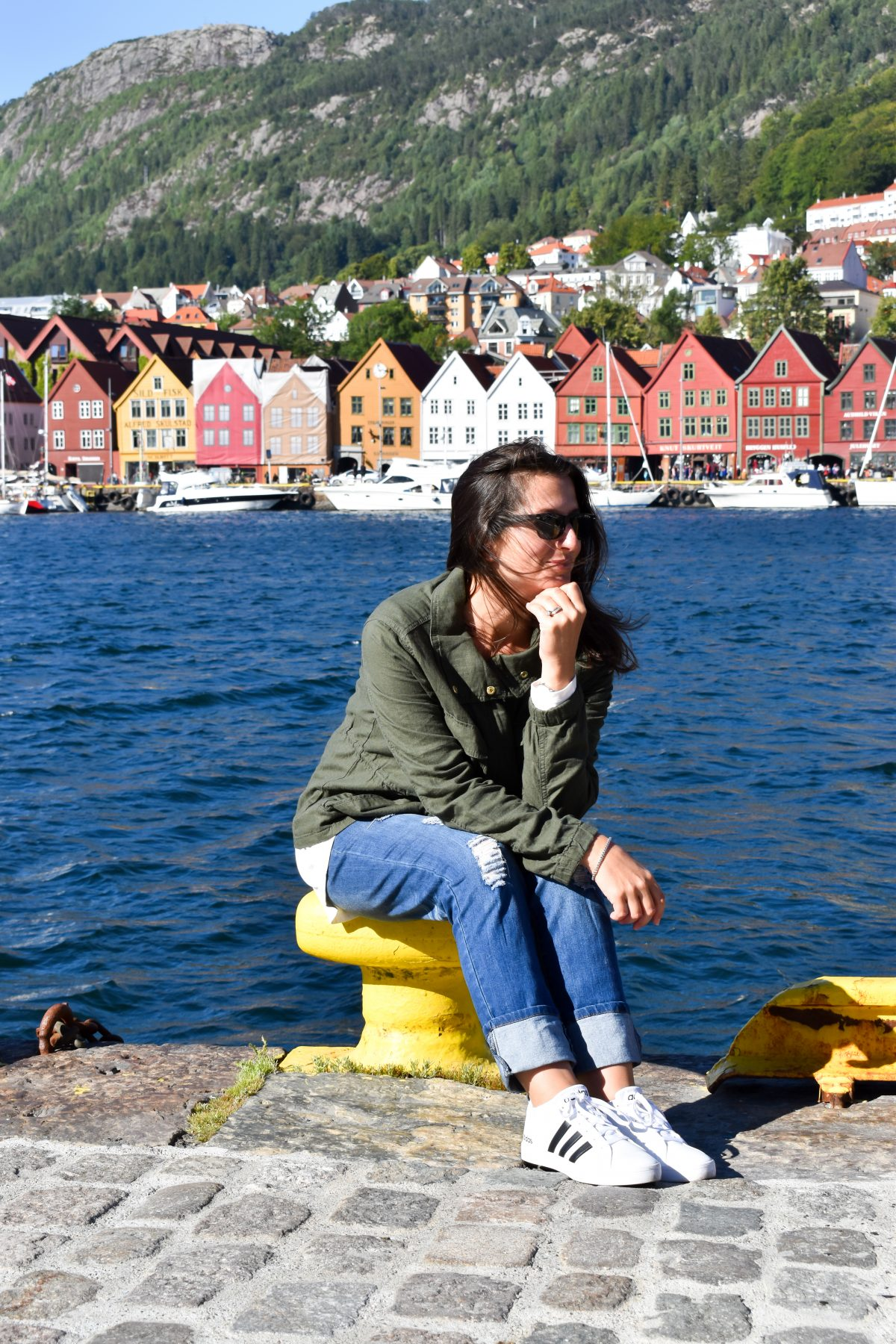 Erin wears a linen blend jacket in Bergen Norway.