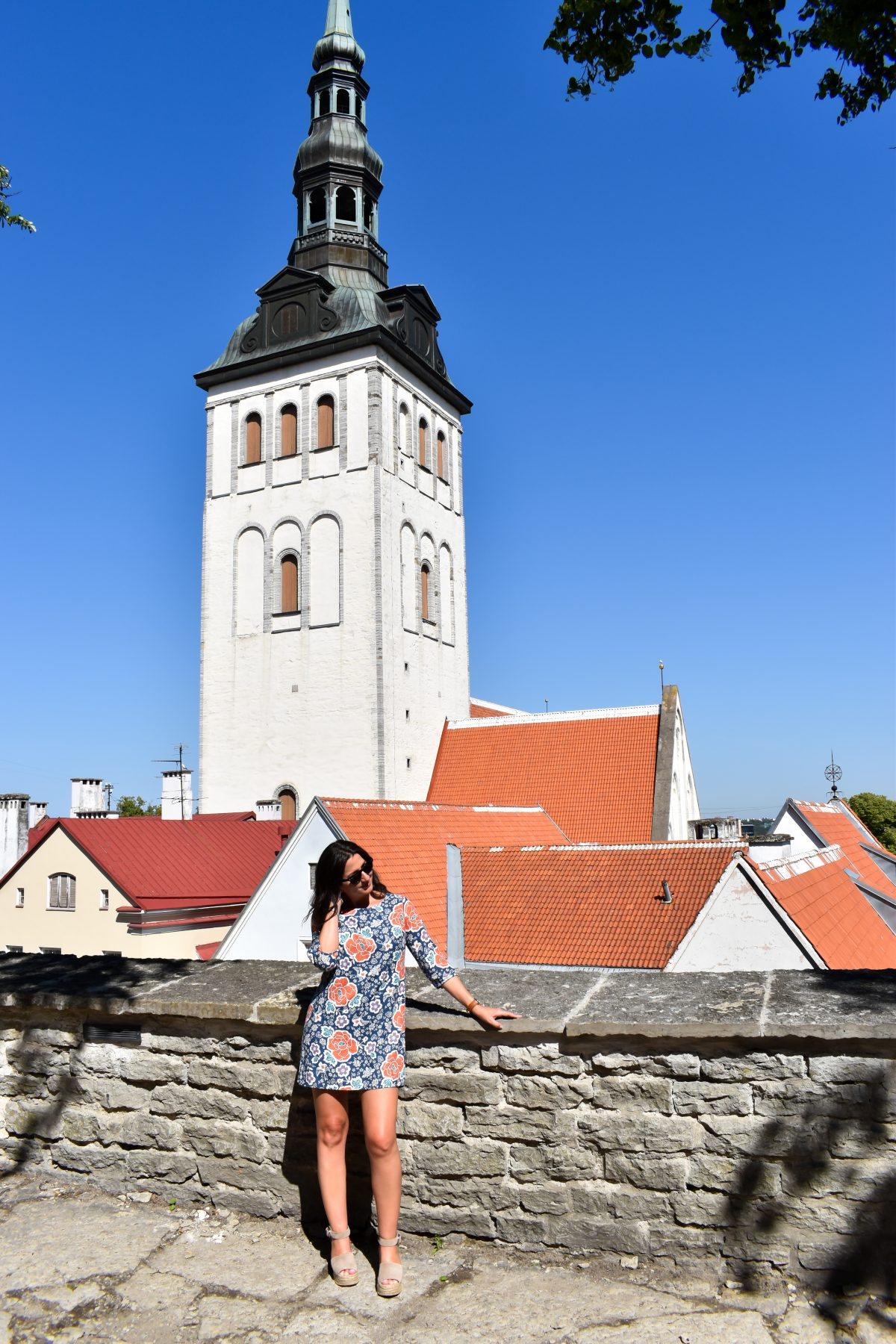Erin wears a shift dress in Tallinn Estonia