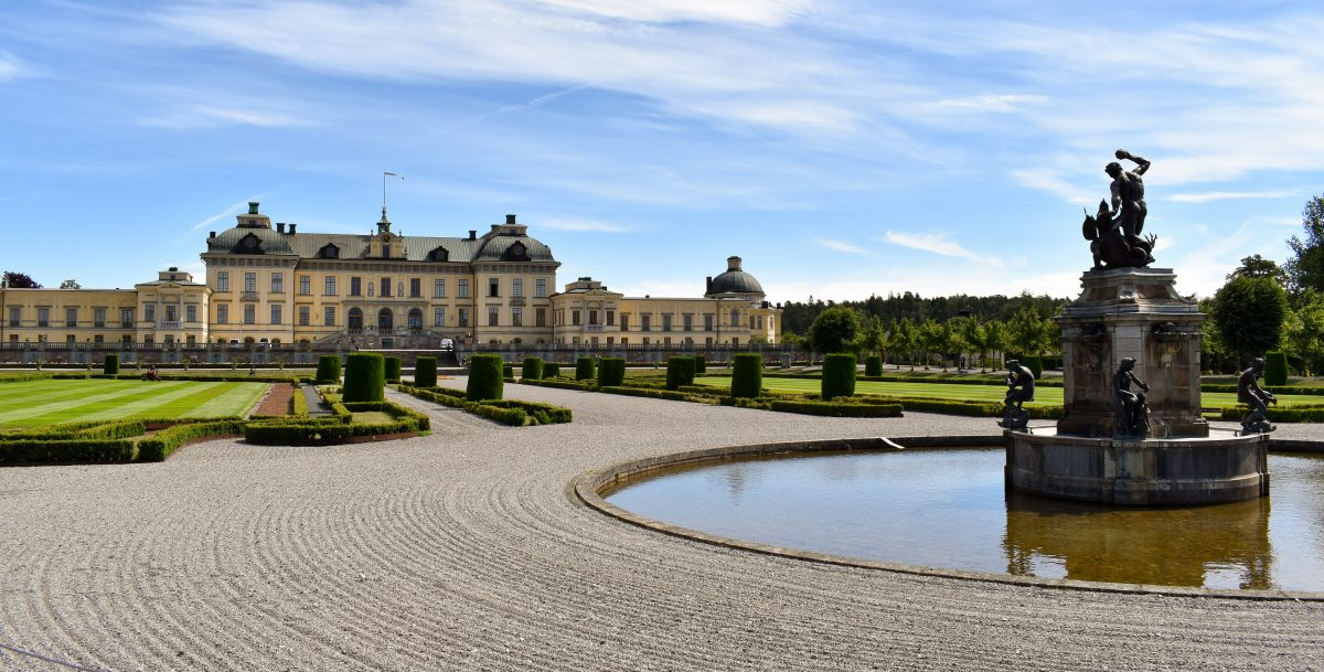 Drottningholm Palace and gardens with fountain