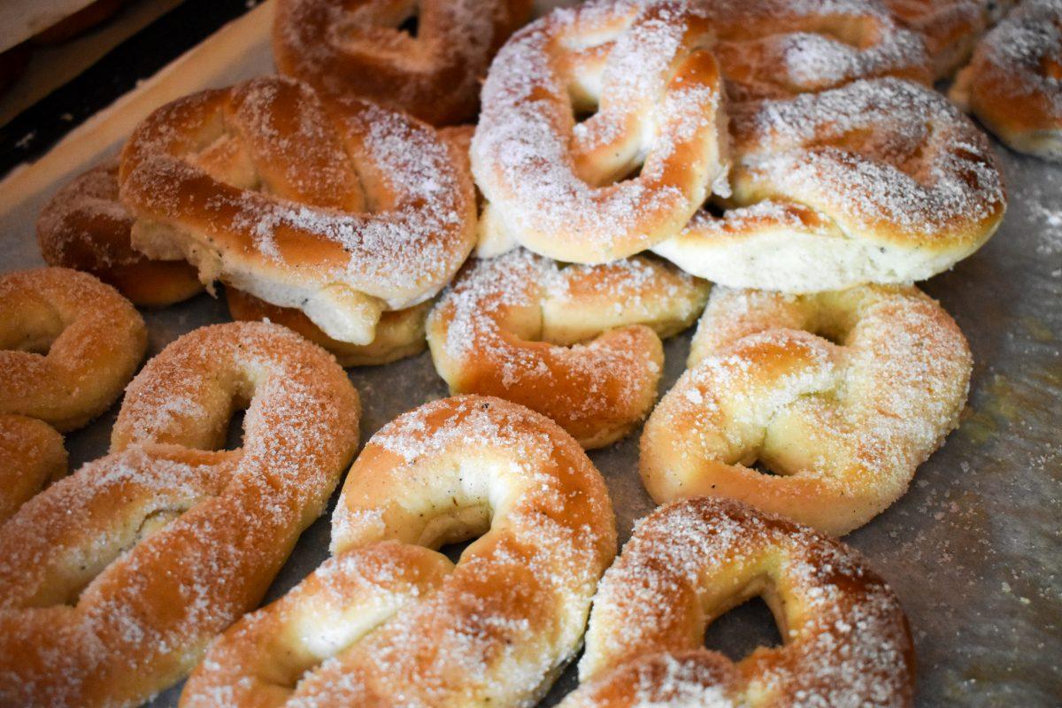 Powdered sugar pretzel pastries in Stockholm